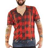 Faux Real Men's Lumbersexual with Tattoo Sleeves, Red/Black, Medium