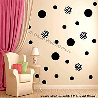50 pieces Zebra Print Polka Dot Wall Stickers, Multi size dot Removable Vinyl Wall Decals, Circle Wall Decals, Kid's Room Decor, Girls Bedroom Decor, Nursery Room Vinyl Wall Stickers