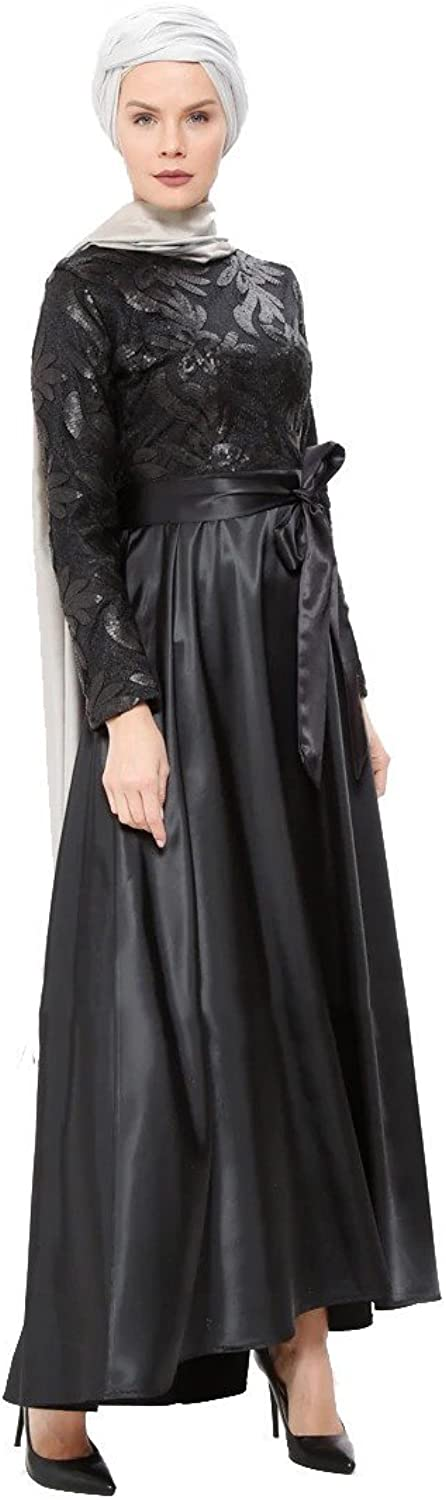 Ginezza Turkish Muslim Modesty Evening Dress Long Sleeves Unlined Crew Neck