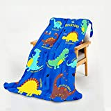 WISH TREE Dinosaur Blanket for Boys, Kids Throw Blanket with Dino Print for Bed Sofa Couch, 50x60 Inch Soft Fleece Blanket Dinosaur Room Decor Gift