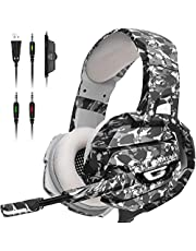 ONIKUMA Gaming Headset, Gaming Headphone with Microphone and Noise Canceling & LED Light, Memory Earmuffs for PS4, Xbox One, PC,Gamecube, Nintendo 64 (Adapter Not Included)