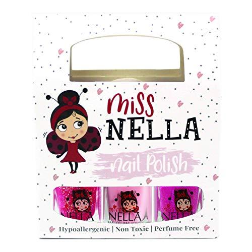 Miss Nella PINK GLITTER ATTACK- Nagellackpack mit 3 Abziehbare, geruchsneutrale, wasserbasierte und sichere für Kinder- Tickle Me Pink, Cheeky Bunny & Sugar Hugs.
