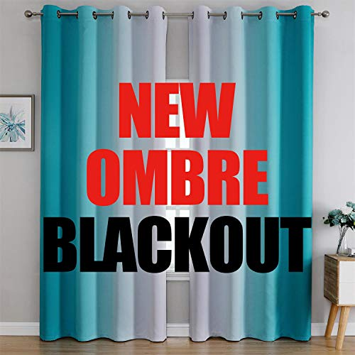 G2000 Blackout Curtains & Drapes for Bedroom Living Room 95 Inches Long Turquoise and Greyish White Room Darkening Window Treatments Ombre Thermal Insulated Light Blocking Grommet Backdrop 2 Panels