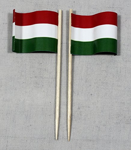 Buddel-Bini Party-Picker Flagge Ungarn Papierfähnchen in Profiqualität 50 Stück 8 cm Offsetdruck Riesenauswahl aus eigener Herstellung