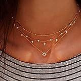 Jovono Fashion Gargantilla estrella Multi – Collar de capa para cumpleaños amistad...