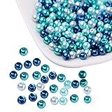 PandaHall ミックス 約400個セット 小さな サテン 光沢 ガラス パール Mix ビーズ ラウンド 丸玉 手作り用品 DIY用 4mm ブルー ハンドメイド 手芸用品 クラフト アクセサリーパーツ
