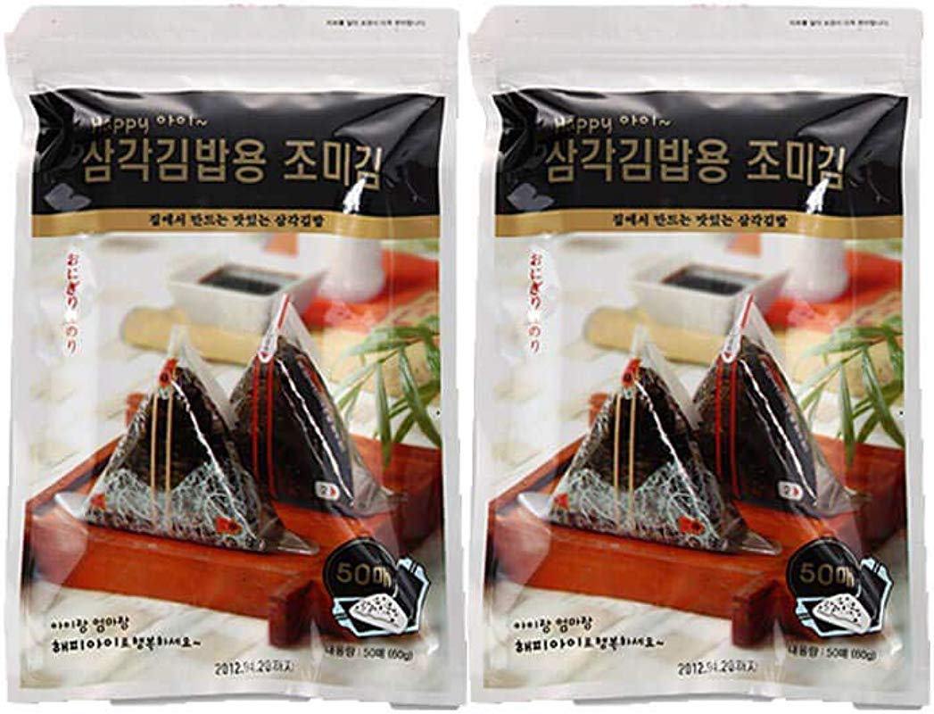 HapppyI Seaweed Wrappers For Triangular Triangle Kimbab With Sticker 100sheets 100 Sheets