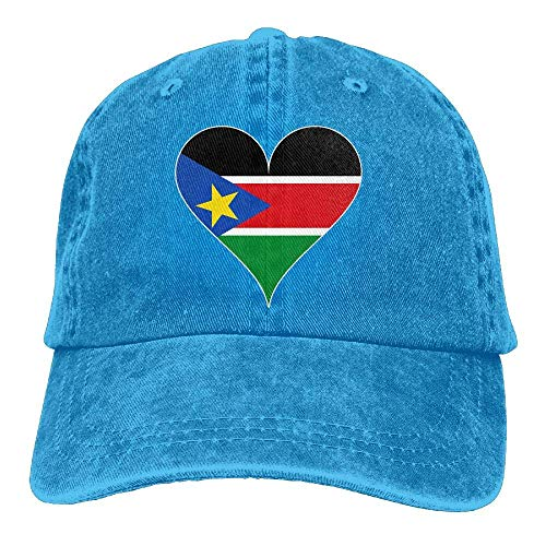 Ahdyr Gorra de béisbol Unisex Sombrero de Mezclilla de algodón Bandera de Sudán del Sur Corazón Ajustable Snapback Gorra de Caza-Azul Real