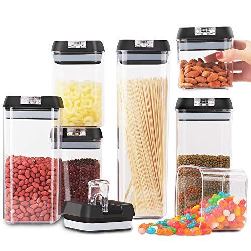 Jinhuaxin Frischhaltedosen-Set, stapelbar, BPA-frei, luftdicht, inklusive Kreidetafel-Etiketten und Marker, für Mehl, Müsli, Nudeln und mehr (7 Stück).