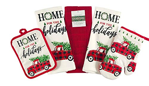 Christmas Holiday Kitchen Towels Pot Holders Set: Country Red Check Truck with Tree Home for The Holidays! (Red Car)