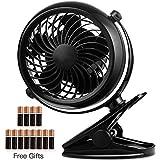 Battery Operated Fan, Battery Powered Clip Fan, 5 Inch Cordless Fan for Camping, Portable Clip on Desk Fan, Mini Quiet...