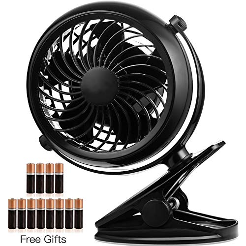 Battery Operated Fan, Battery Powered Clip Fan, 5 Inch Cordless Fan for Camping, Portable Clip on...