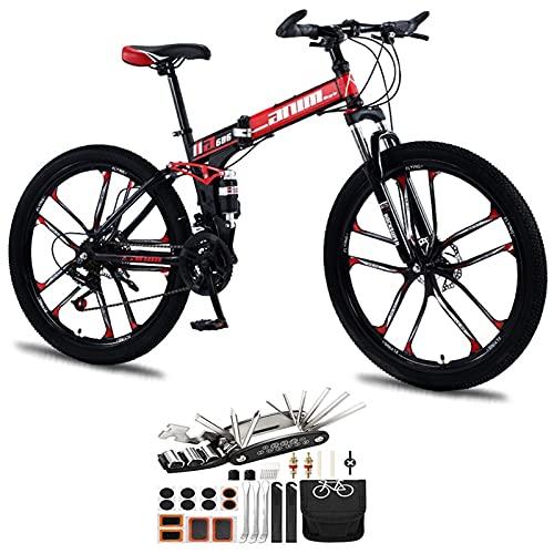 Tbagem-Yjr 26 Pulgadas Doble absorción de Choque Ligero Bicicleta Plegable, 21-30 velocidades Bicicleta de montaña 10 Ruedas de Cuchillo Cross Country Velocidad Velocidad de la Bicicleta Accesorios