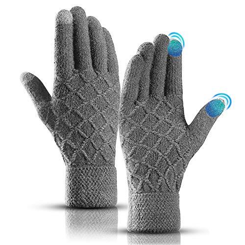 KEZKALS Touchscreen Handschuhe Herren Damen Winter - Weich & Warm Thermo Handschuhe mit Kaschmir, Geschenke für Frauen Männer, Adventskalender Männer 2020 zum Befüllen (L- 23 * 12cm, Grau)