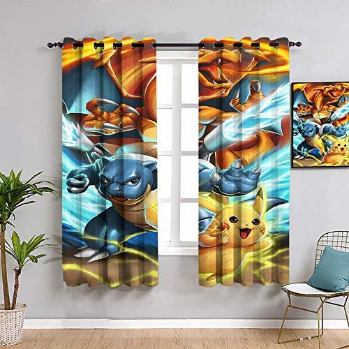 ZhiHdecor Pokemon Anime Verdunkelungsvorhänge, bedruckt, wärmeisoliert, lichtblockierende Ösen, Fenstervorhänge, 106,7 x 137,2 cm