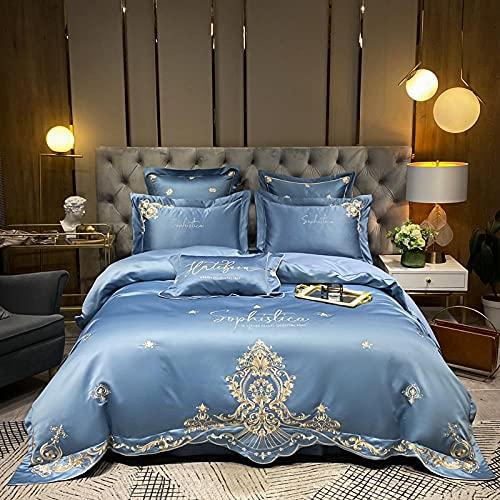 Juegos De SáBanas De 80,Ropa de cama de bordado de seda, lavado de agua CUBIERTA DE PECEDOR ADELANTE, SOFT SOBLE ANTI-electrostático Una sola cama doble de cama individual de regalos-A_1,8 m de cama