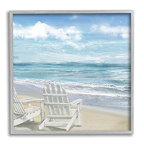 Stupell Industries White Adirondack Chairs on The Beach Painting, Design by Main Line Studio Wandbild, gerahmt, Grau, blau, 12x12