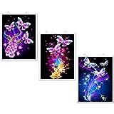3 Juegos Kit de Pintura de Diamantes de Diseño de Mariposa de Taladro Completo 5D Kits de Pintura de Diamantes de Imitación para Adultos y Principiantes Decoración Artesanal, 12 x 10 pulgadas