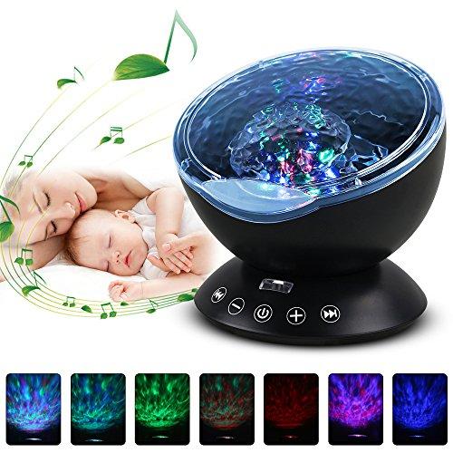 Gobesty Proiettore di Stelle Bambini, Proiettore a Luce Stellare LED, Lampada Proiettore Oceano con la Musica, Telecomando, 7 modalità di Illuminazione per la Decorazione di Feste e Stanze