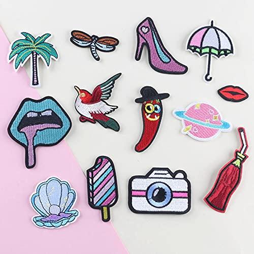 Patch Sticker,Parche termoadhesivo,Aplique de bordado adecuado para sombreros, chaquetas, abrigos, camisetas, beber chile 13 piezas