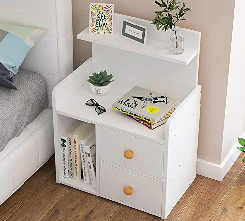 GORVELL Warm White 2 Drawer Bedside Table with Storage Shelves, Side Table Nightstand Bedroom Living Room Storage Unit,L42 x W26 x H60cm