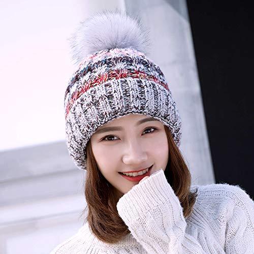 Xme Wollmütze für Herbst- und Winterdamen, warme Strickmütze aus Wollknäuel im Freien, Neue Trendmütze