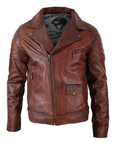 Giacca da motociclista in vera pelle, da uomo, colore marrone scuro, con cerniera incrociata, vintage, retrò, casual