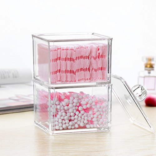 Demarkt 1pcs Boîte de Rangement cosmétique Double Boîte de Toilette adhésive en Coton Transparent Boîte de Rangement cosmétique en Coton 9 * 9 * 17cm