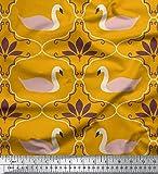 Soimoi Gold Baumwolle Ente Stoff Schwan & marokkanisch