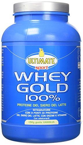 Ultimate Italia Whey Gold 100% - Proteine del Siero del Latte Isolate e Idrolizzate – Integratore di Proteine per la Crescita e il Mantenimento della Massa Muscolare Magra, Gusto Vaniglia 1.5 Kg