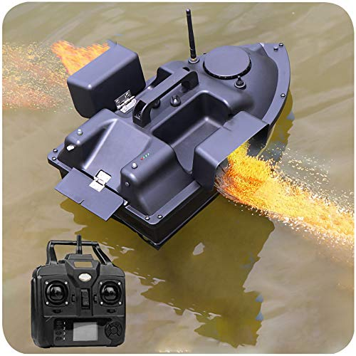 XIAOKUKU 500m Fischköder Futterboot 2.4G Angeln RC Boot GPS kabelloser Doppelmotor Fischfinder Köderboot wasserdichte automatische Kreuzfahrt für Seen, Angelbegeisterte, Fischer Tackle