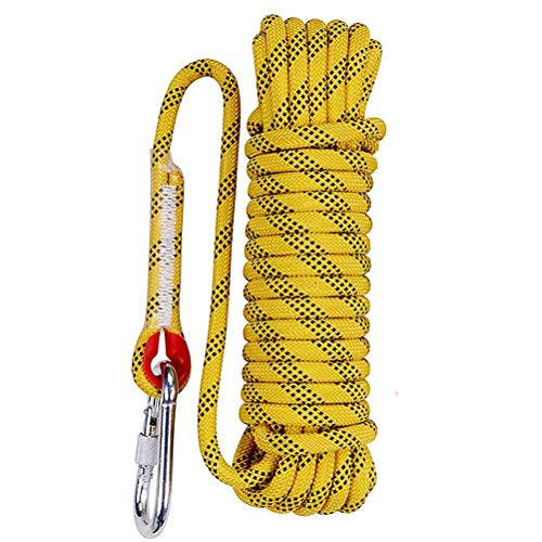 Aoneky 10 mm Static Outdoor Rock Climbing Rope, Fire Escape Safety Rappelling Rope (Yellow 1, 32)