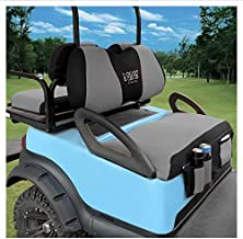 10L0L Golf Cart Front and Rear Seat Cover Sets for Club Car DS Precedent & Yamaha, Front Seat Cover with Storage Bags Breathable Washable Polyester Mesh Cloth Black Gray Red(Front and Back Sets)