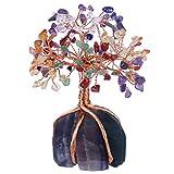 Nupuyai - Árbol de la vida - Figuras de árbol de cristal para decoración de casa, alambre de acero inoxidable, árbol para la curación de Fengshui Reiki, 7 piedras Chakra y base de fluorita, multicolor