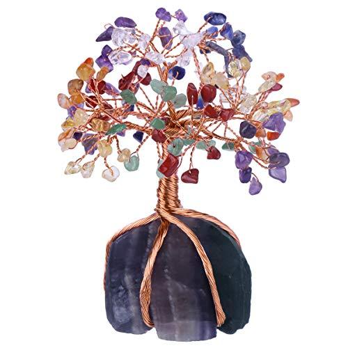 Nupuyai - Árbol de la vida - Figuras de árbol de cristal para decoración de casa, alambre de acero inoxidable, árbol para la curación de Fengshui Reiki, 7 piedras Chakra y base de fluorita, mu