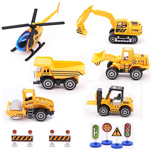 Engineering Vehicle Toys Set Alloy Construction Big Forklift,Single Drum Roller,Stacker/Crane,Helicopter,Excavator,Heavy Duty Truck Mini Toy Set for Kids Boys Girl