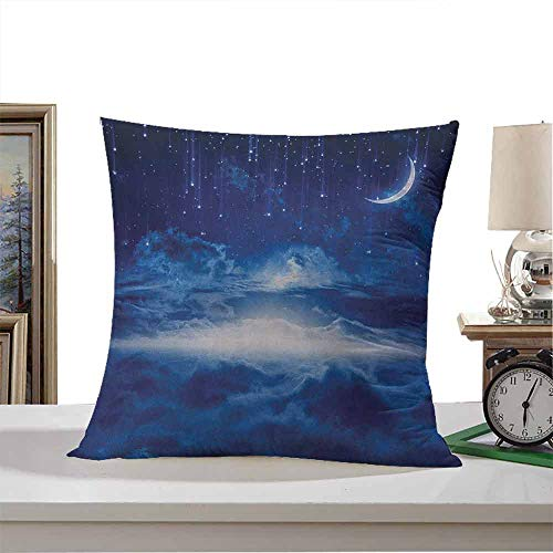 Polyester Square Form Decorative Pillow Fantasy,Night Sky with Moon Falling Stars Clouds Horizon Mysterious Space Art, Navy Blue and White 16