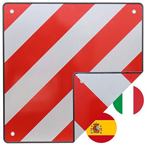 TrutzHolm® Warntafel Italien und Spanien 2 in 1 50 x 50 cm rot weiß Reflektierendes Warnschild für Heckträger und Fahrradträger