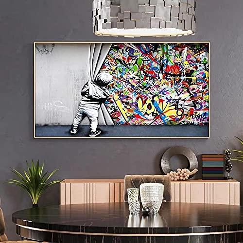 Street Banksy Graffiti Art Childen Detrás de la cortina Lienzo Pinturas Figura Carteles Arte de la pared Imágenes Decoración del hogar 35x70cm Sin marco