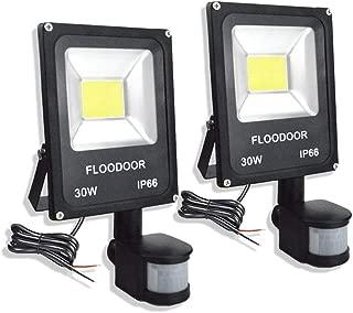 FLOODOOR 30W LED Motion Sensor Light, 12-24V Outdoor Security Super Bright Flood Light, IP66 Waterproof, 6000K, 2700LM, Daylight White, 150W Halogen Bulb Equivalent, PIR Sensor Light (2 Pack)