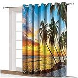 Cortina para puerta corredera de mar con palmeras en la playa en una isla del Caribe en Barbados Horizonte cortina de puerta de vidrio corredera térmica, panel individual de 254 x 274 cm, para vidrio