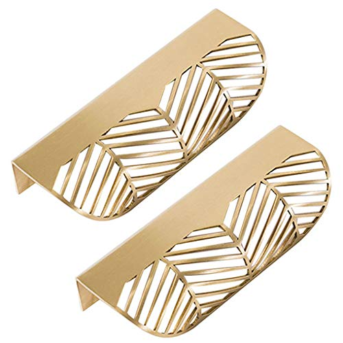 Republe hoja con forma de cajón, tirador de latón para muebles de puerta puerta puerta de armario armario L117 (11,7 x 2,3 x 4,3 cm, 2 unidades L117)