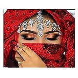 Cuadros Diamantes 5D - 5D Diy Diamante Pintura Mujer India - Completo Cuadrado Taladro Kits De Punto De Cruz Máscara Belleza Mosaico Bordado Artesanía De Boda Para El Hogar Decoración De Arte De