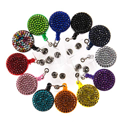 (12PCS Pack) 12 Hot Colors Mix Handmade Sparkle Bling Crystal Badge Reel Clip Cute Retractable Rhinestone ID/Name Badge Holder