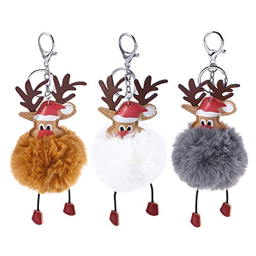 Toyvian 3 stücke Rentier Pom Pom Schlüsselanhänger Nette Autoschlüssel Weihnachtsbaum Weihnachtsbaum Ornament Dekoration für Kinder Frauen Mädchen (Dunkelgrau und Khaki und Weiß)