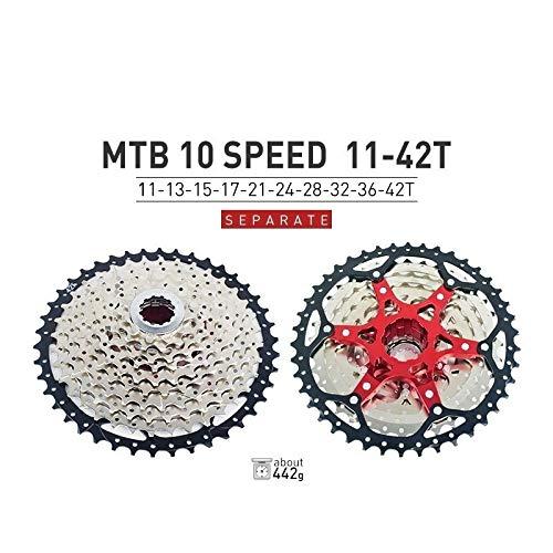 HIGHER MEN VTT Cassette 10 11 12 Vitesse 11-40T 42T 46T 50T Vélo de Montagne Vélo Roue Libre Pignons for Shimano SRAM Sunrace Pièces vélo (Color : 10S 11 42T)