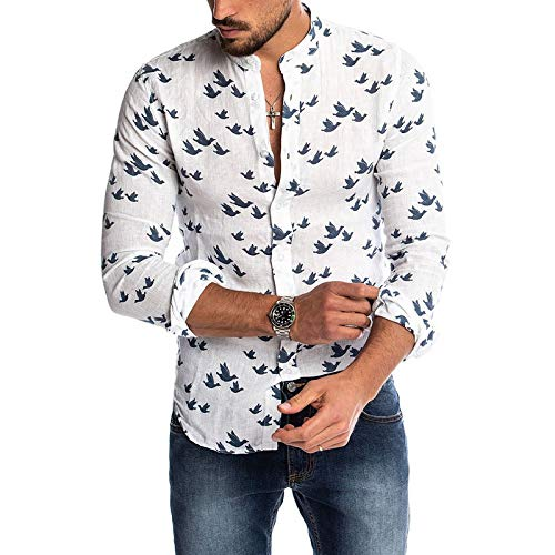 Zestion Men's Cotton and Linen Shirts Personalized Printing Slim Fit Thin Breathable Stand-up Collar Casual Wild Shirt Tops 3X-Large White