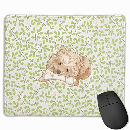 Grüne Blätter Gelbe Punkte.JPEG Rechteckiges rutschfestes Gaming-Mauspad Tastatur Gummi-Mauspad für Heim- und Büro-Laptops
