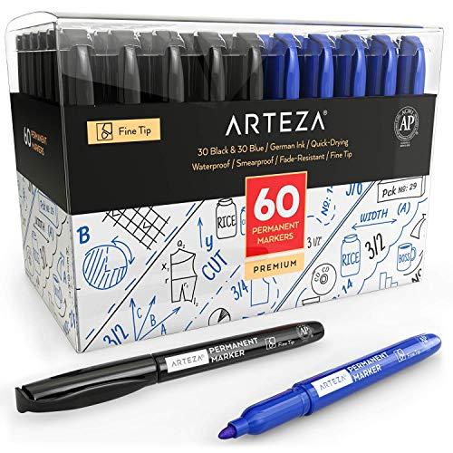 Arteza Rotuladores permanentes negros y azules | Caja de 60 |30 rotuladores negros + 30 rotuladores azules | Punta fina | Rotulador permanente sin olor | Resistentes al agua | Secado rápido