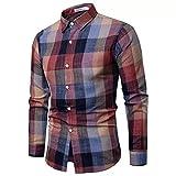 LSDJGDDE Camisas de hombre de talla grande Ropa Coreana Slim de manga larga Camisa de vestir casual de algodón a cuadros para hombre (color: rojo, tamaño: código L)